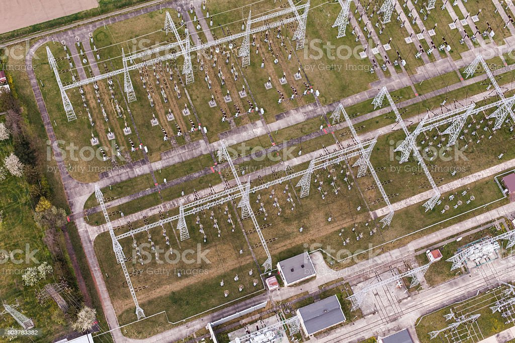 Aerial image of electrical substation in Poland stock photo