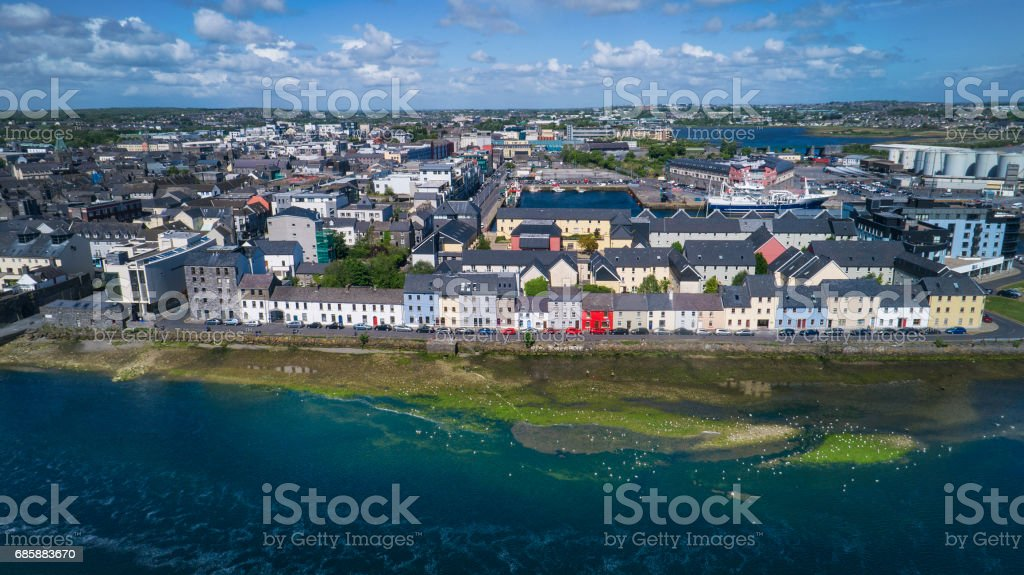 Aerial image of Galway city in Ireland stock photo