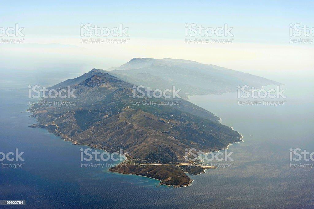 Aerial image of greek island Ikaria royalty-free stock photo