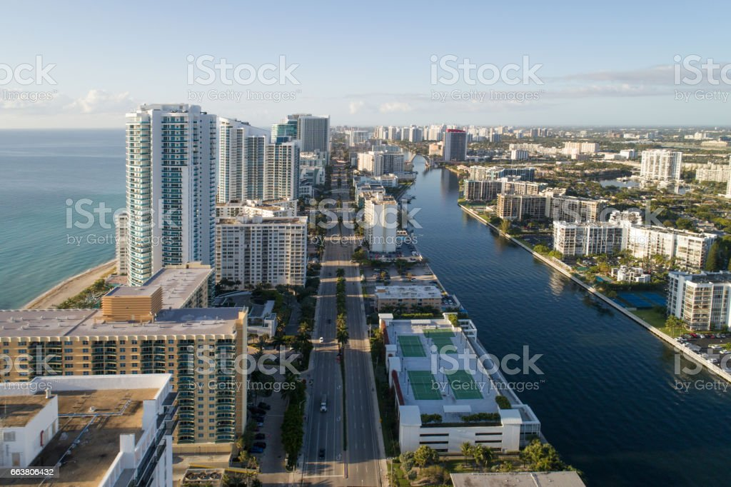 Aerial image of Hollywood Beach FL stock photo