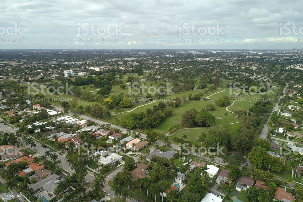 Aerial image of Hollywood Florida and golf course landscape stock photo