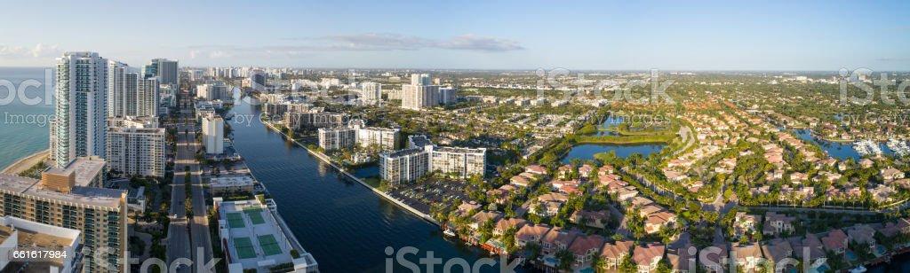 Aerial image of Hollywood Florida stock photo