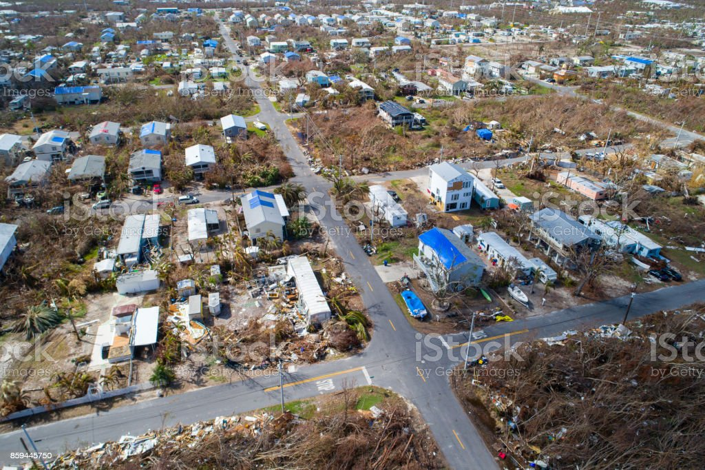 Aerial image of homes destroyed in the Florida Keys Hurricane Irma stock photo