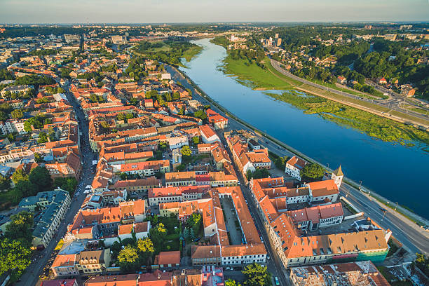 Aerial image of Kaunas city, Lithuania stock photo
