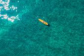istock Aerial Image of kayak in Lake Tahoe in California 1253344542
