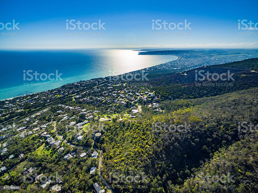 Aerial image of Mornington Peninsula stock photo