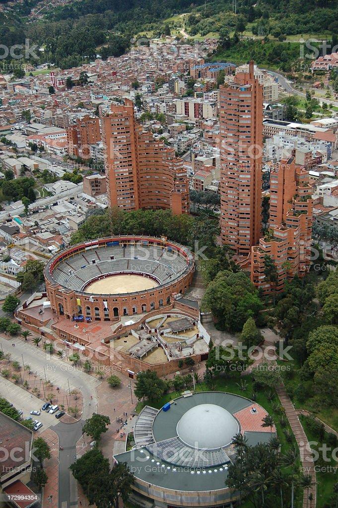 Aerial image of Plaza de Toros la Santamaria royalty-free stock photo
