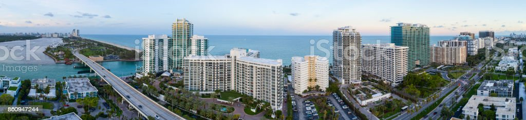 Aerial image of Sunny Isles Beach FL stock photo