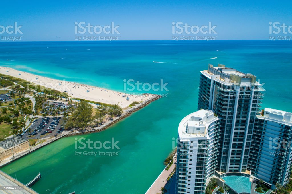 Aerial image of the Haulover Bal Harbour inlet Miami Beach FL stock photo