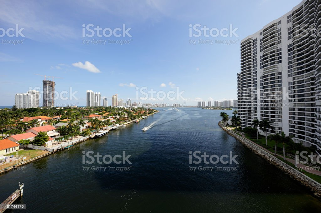 Aerial image of the Intracoastal Waterway stock photo