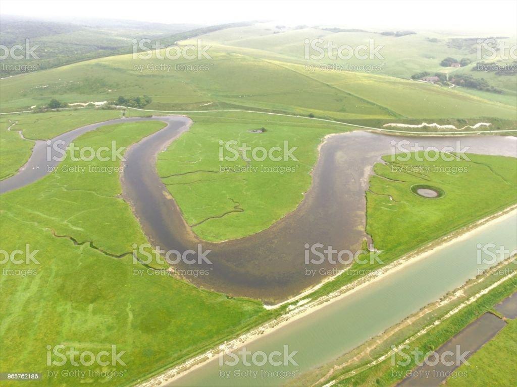 Afbeelding van de antenne van de rivier Cuckmere. - Royalty-free Buitenopname Stockfoto