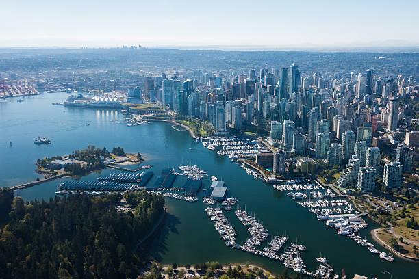 aerial image of vancouver, british columbia, canada - vancouver canada stockfoto's en -beelden