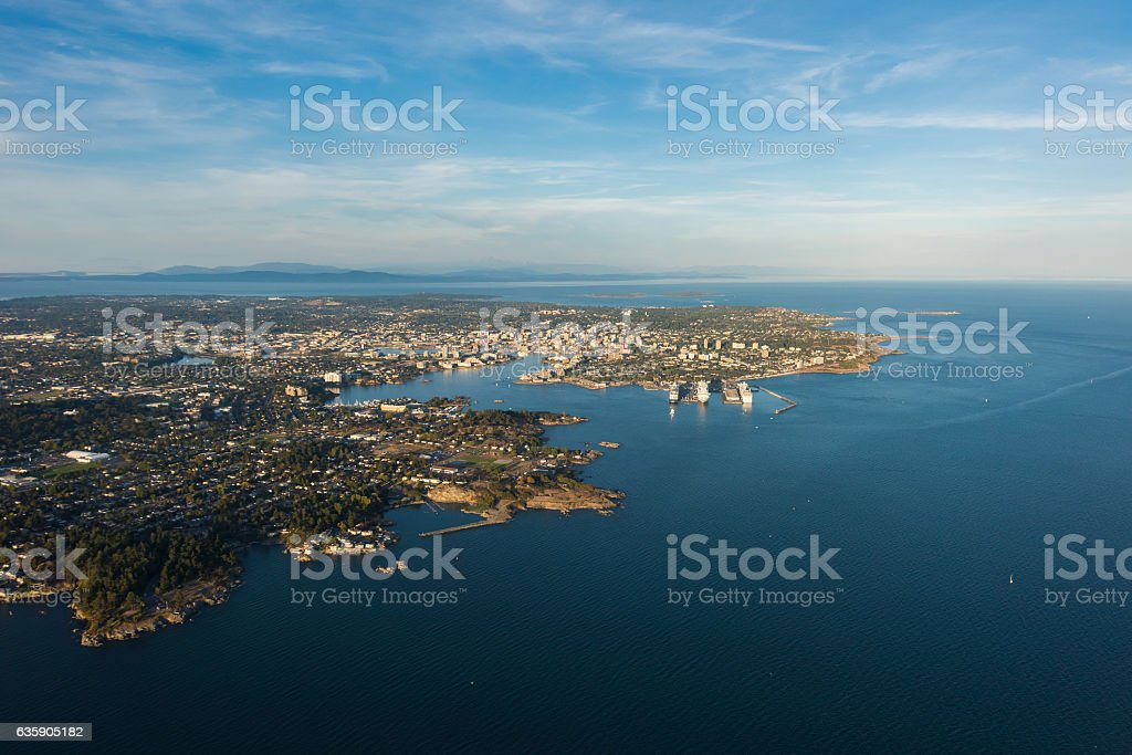 Aerial Image of Victoria Harbour, British Columbia, Canada stock photo