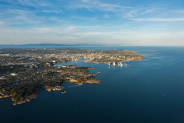 Aerial Image of Victoria Harbour, British Columbia, Canada Aerial Image of Victoria Harbour on Vancouver Island, British Columbia, Canada vancouver island stock pictures, royalty-free photos & images