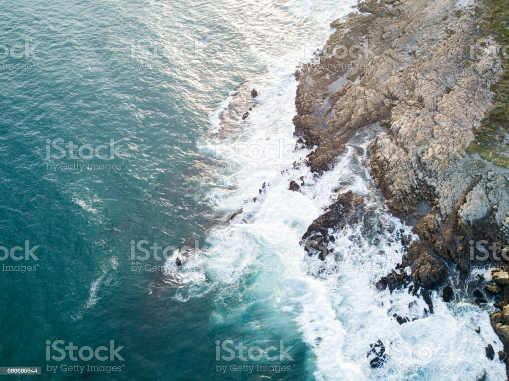 Aerial image over blue seas stock photo
