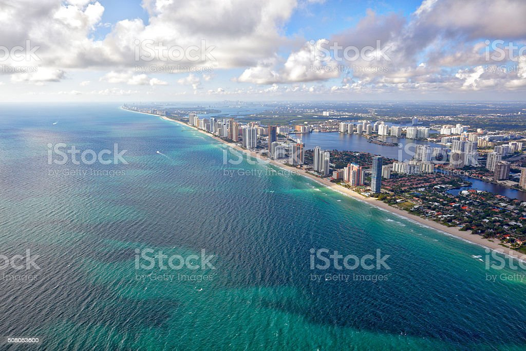 Aerial image Sunny Isles Beach FL stock photo