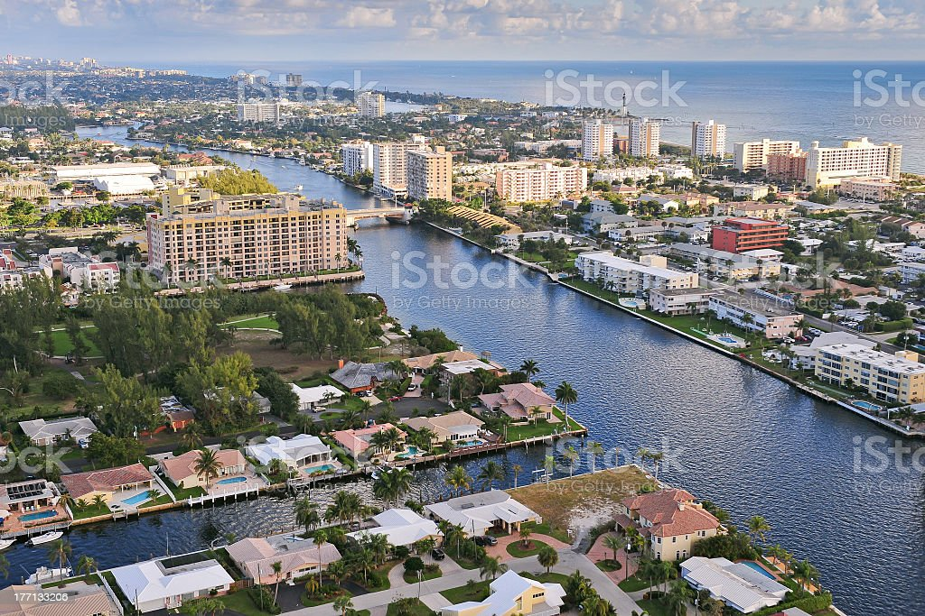 Aerial imagery of The Atlantic Intracoastal Waterway at day stock photo