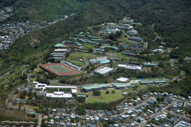 Aerial Kamehameha Schools on Moutain side stock photo