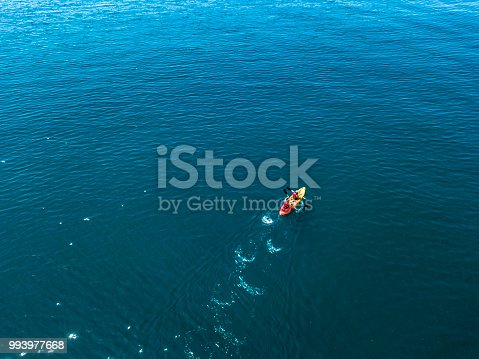 aerial kayak boat canoe on the water sea surface aerial