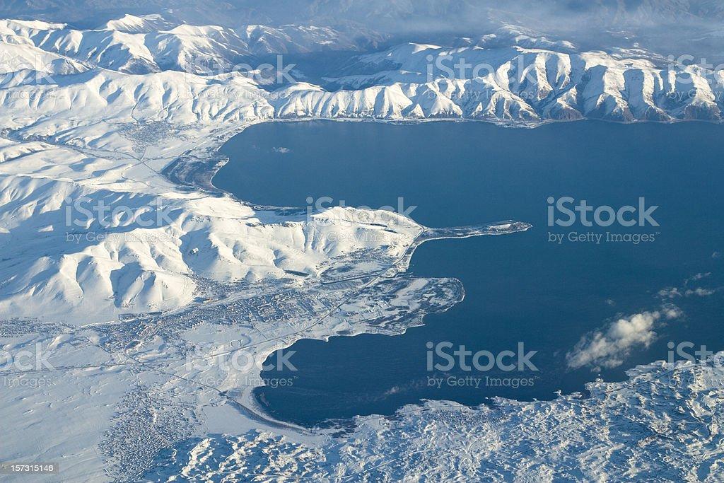 Aerial Lake Sevan in Armenia royalty-free stock photo