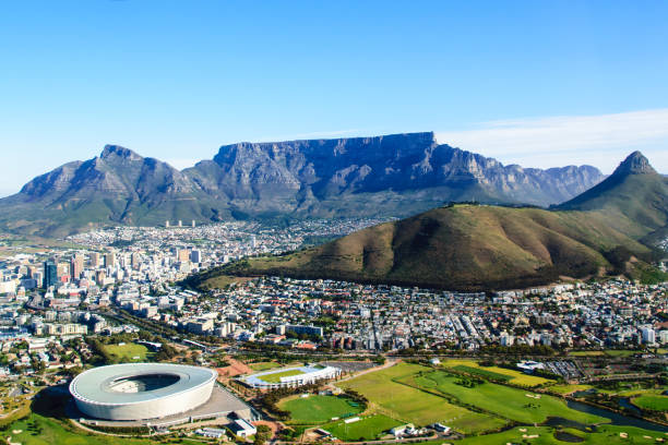 aerial landscape of table mountain in cape town - table mountain south africa stock pictures, royalty-free photos & images