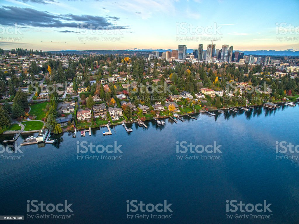 Aerial Landscape of the Bellevue Washington Skyline stock photo