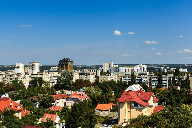 aerial landscape view of chisinau, moldova. - moldova stock pictures, royalty-free photos & images
