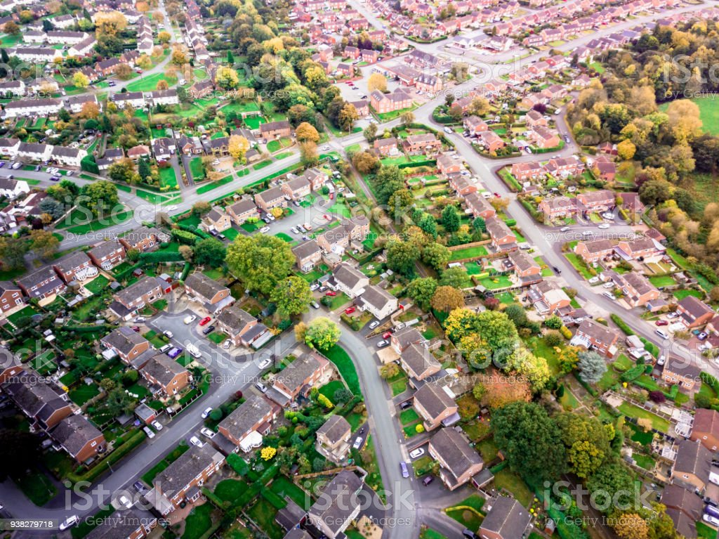 Aerial landscape view of homes on an English housing estate. stock photo
