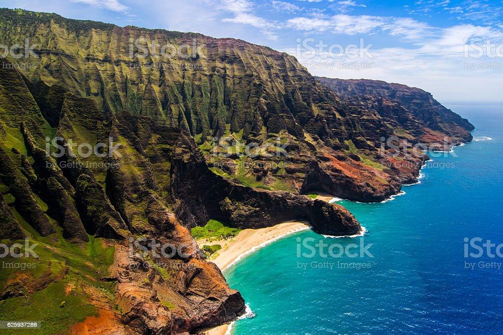 Aerial landscape view of Honopu Arch, Na Pali coastline, Kauai stock photo