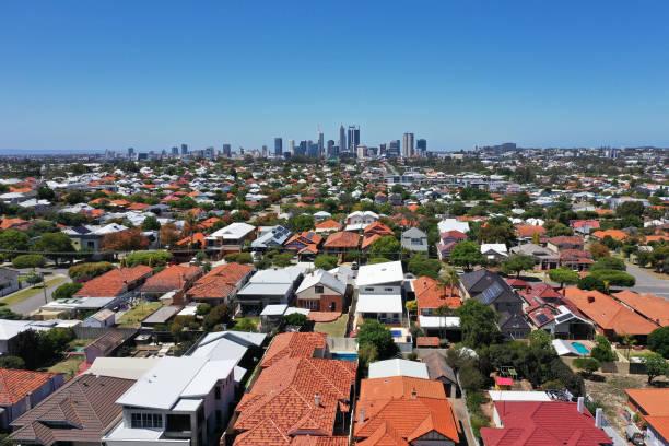 Aerial landscape view of  Perth Western Australia stock photo