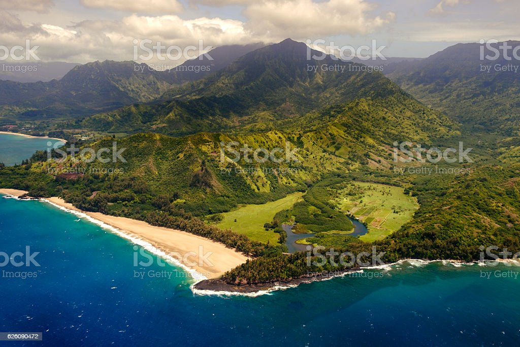 Aerial landscape view of shoreline at Na Pali coast, Kauai stock photo