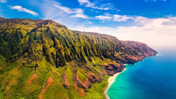 Aerial landscape view of spectacular Na Pali coast, Kauai stock photo
