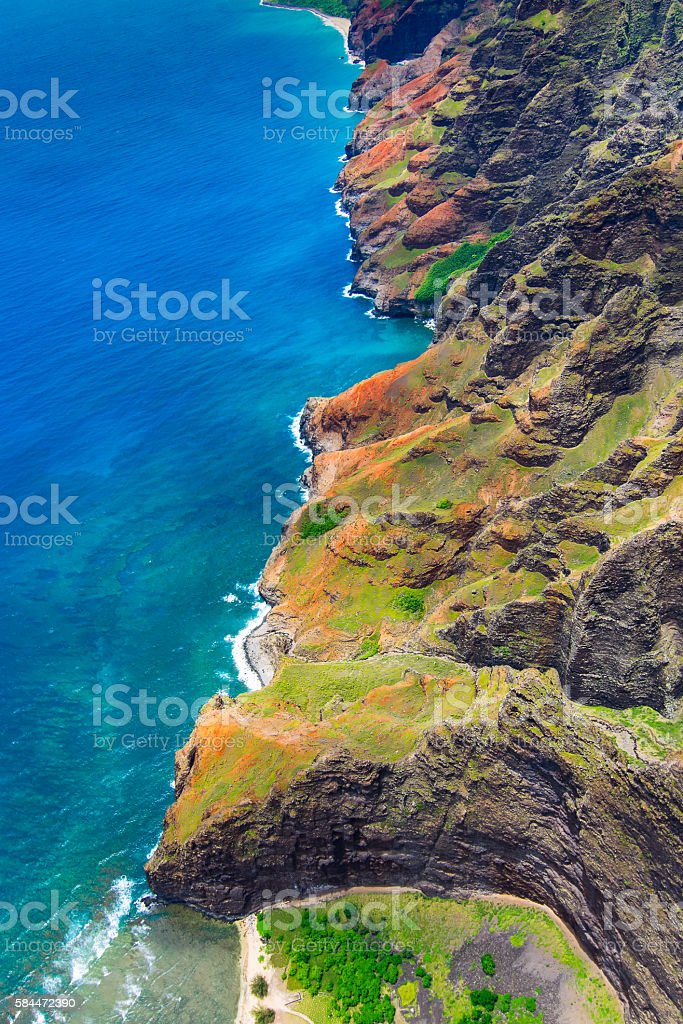Aerial landscape view of spectacular Na Pali coastline from heli stock photo