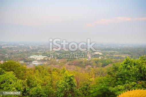 Aerial landscape view of the Royal Flora Ratchaphruek National Park. Chiang Mai, Thailand, view from hill at Wat Phra That Doi Kham.
