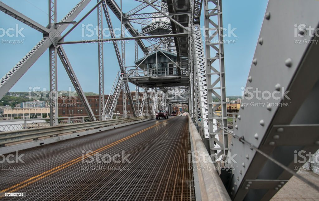 Aerial lift bridge Duluth, MN stock photo