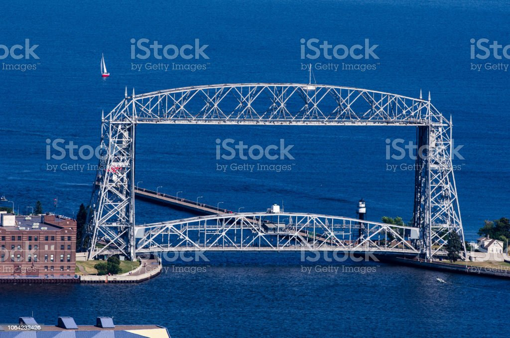 Aerial Lift Bridge In Duluth Minnesota On A Blue Lake Superior Stock