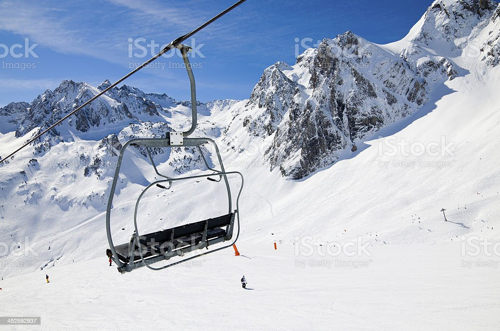 Aerial lift in the winter mountains stock photo