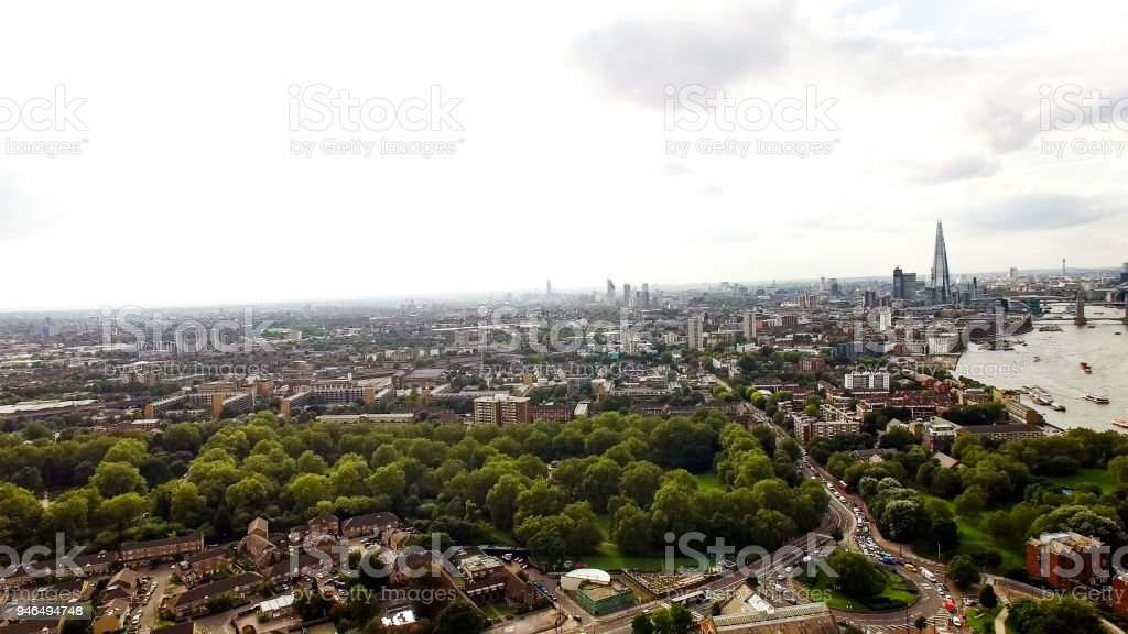 Aerial London Urban Cityscape around South of the City stock photo