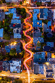 An aerial image of cars driving on famous Lombard Street in San Francisco, California