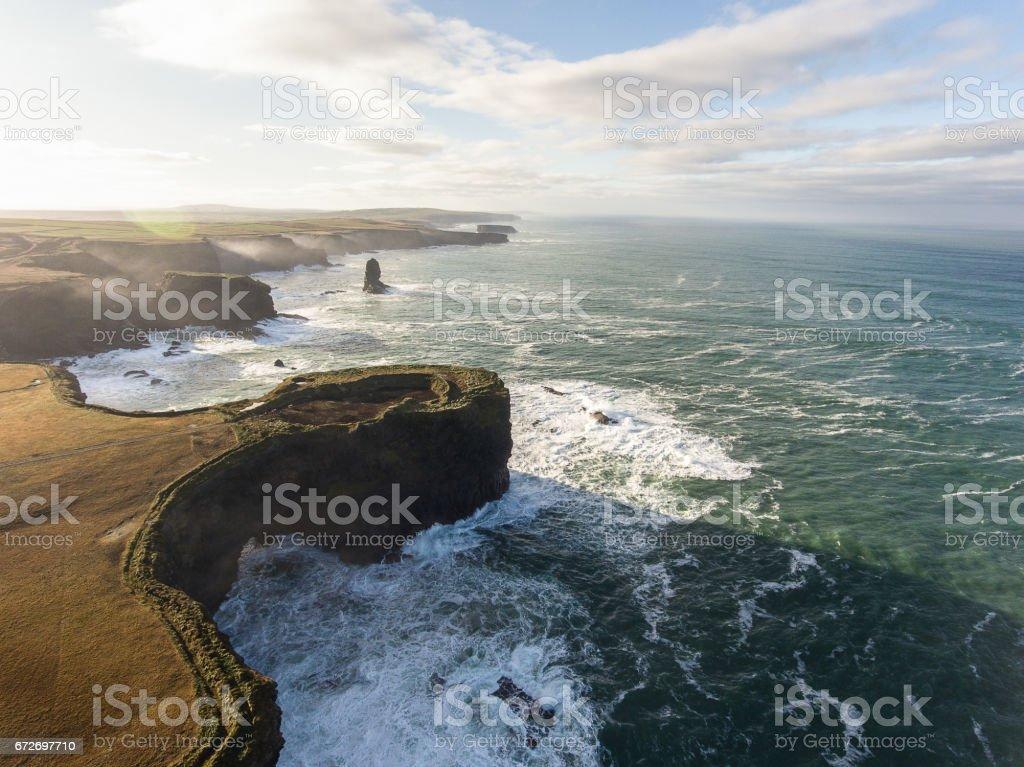 Aerial Loop Head Peninsula in West Clare, Ireland. Kilkee Beach County Clare, Ireland. stock photo