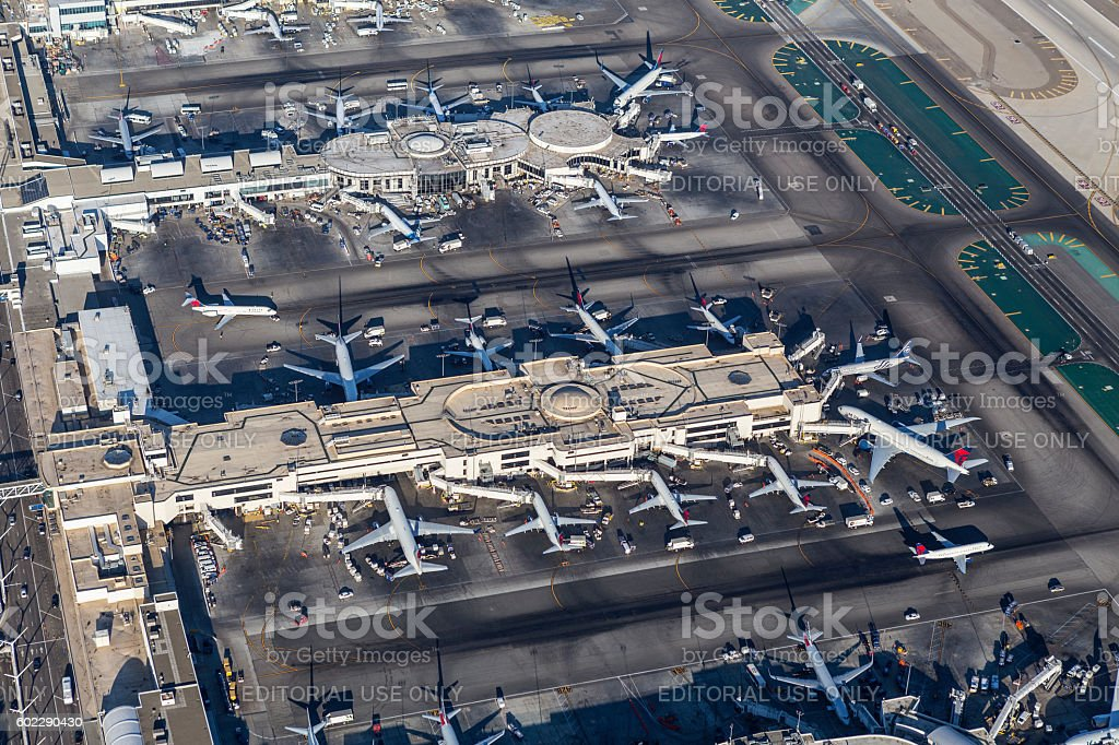 Aerial Los Angeles International Airport Terminals stock photo