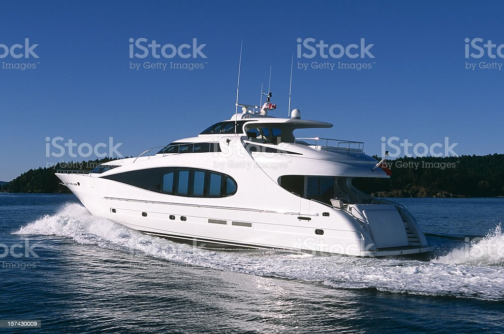 aerial luxury motor yacht ship boat vancouver victoria stanley park royalty-free stock photo