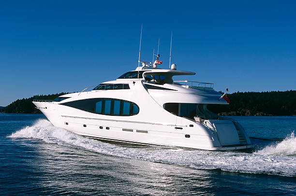 aerial luxury motor yacht ship boat vancouver victoria stanley park stock photo