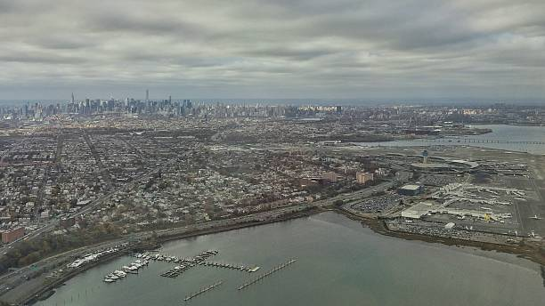 Aerial Manhattan Skyline, NYC, NY Bridges Landmarks, Laguardia Airport stock photo