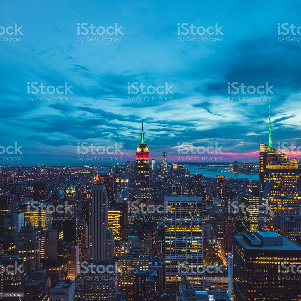 Aerial Manhattan View at Dusk, New York City stock photo