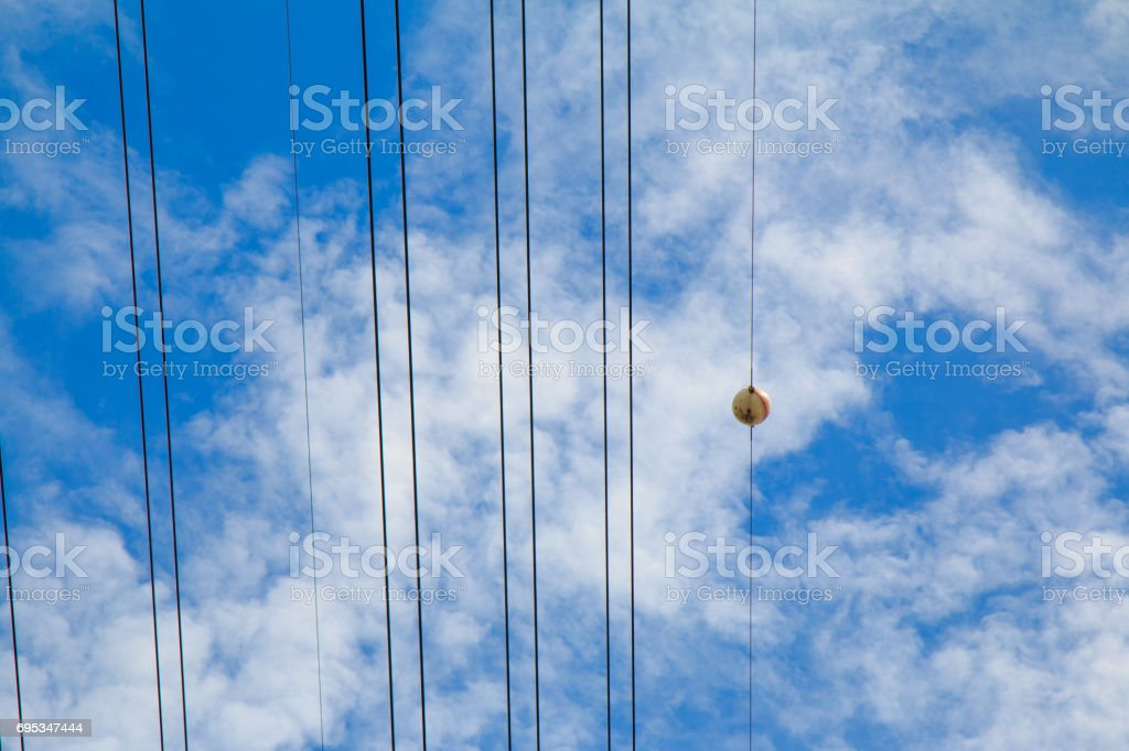 Aerial marker balls and blue sky stock photo