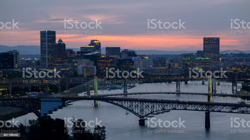 Aerial Marquam Bridge with downtown Portland at sunset stock photo