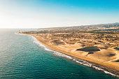 istock Aerial Maspalomas dunes view on Gran Canaria island 1071168996