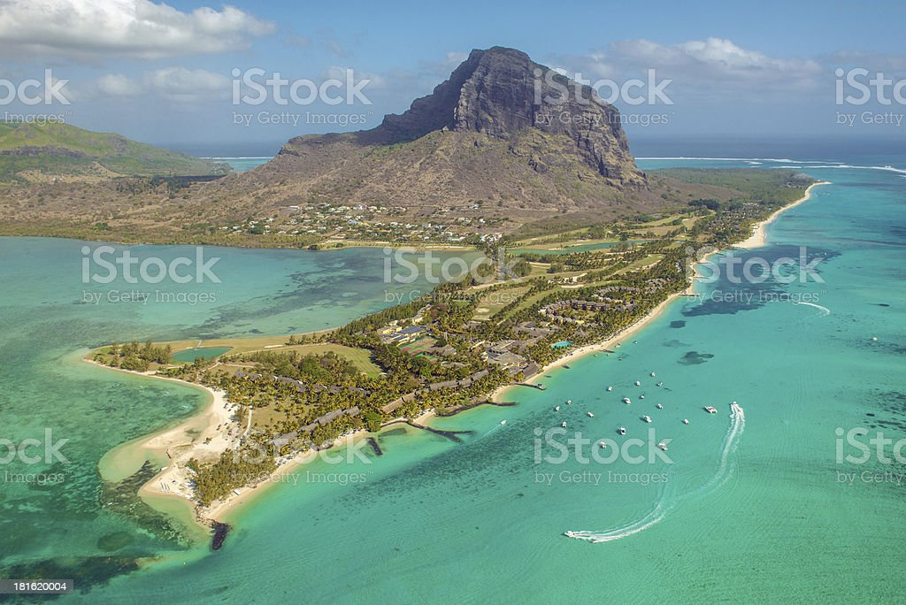 Aerial Mauritius. View on Le Morne mount stock photo