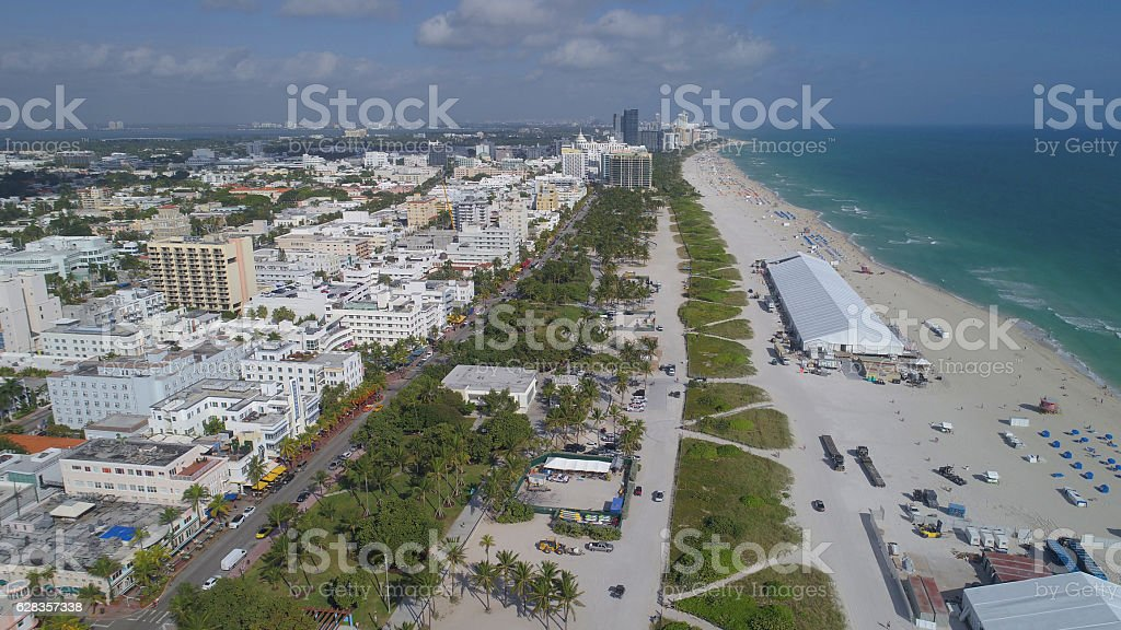 Aerial Miami Beach art basel tents – Foto